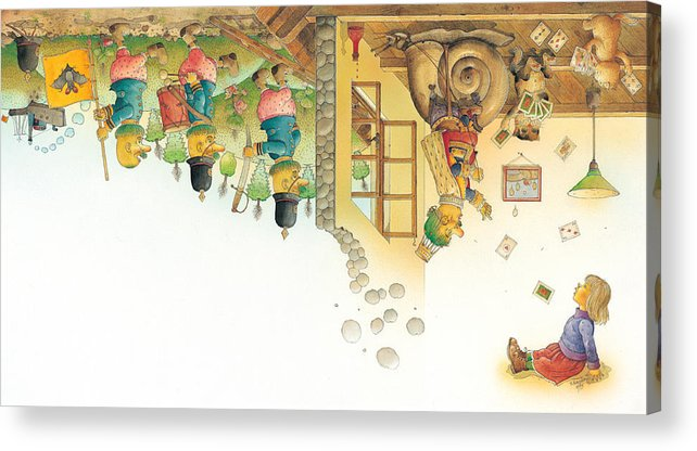 Yellow Dream Sleep Acrylic Print featuring the painting Lisas Journey11 by Kestutis Kasparavicius