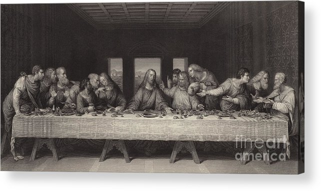 The Last Supper Acrylic Print featuring the painting The Last Supper by Leonardo da Vinci