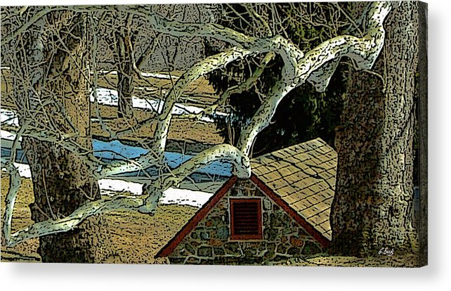 Brandywine Pennsylvania Springhouse Snowy Rural Country Battlefield Historic Gordon Beck Art Acrylic Print featuring the photograph Brandywine Springhouse by Gordon Beck