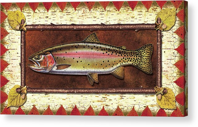 Trout Acrylic Print featuring the painting Cutthroat Trout Lodge by JQ Licensing