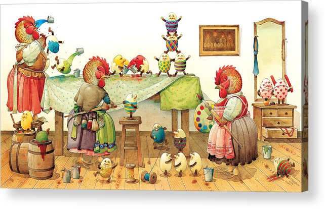 Eggs Easter Acrylic Print featuring the painting Eggs Dyeing by Kestutis Kasparavicius