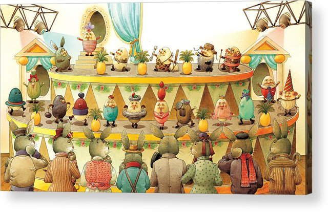 Egs Easter Acrylic Print featuring the painting Eggs Fashion by Kestutis Kasparavicius