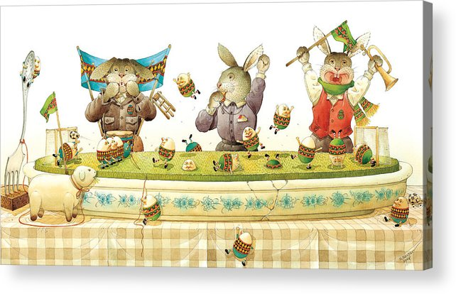 Eggs Easter Soccer Rabbit Acrylic Print featuring the painting Eggs Soccer by Kestutis Kasparavicius