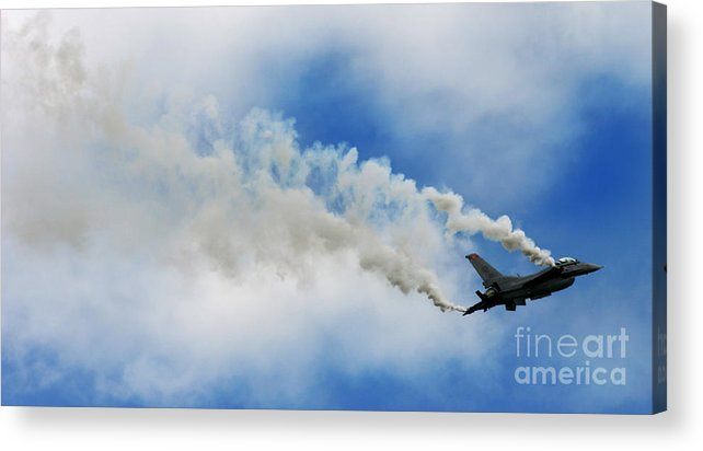 F-16 Acrylic Print featuring the photograph F-16 Fighting Falcon by Angel Ciesniarska