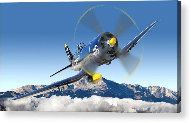 F4-u Corsair Acrylic Print featuring the photograph F4-u Corsair by Larry McManus