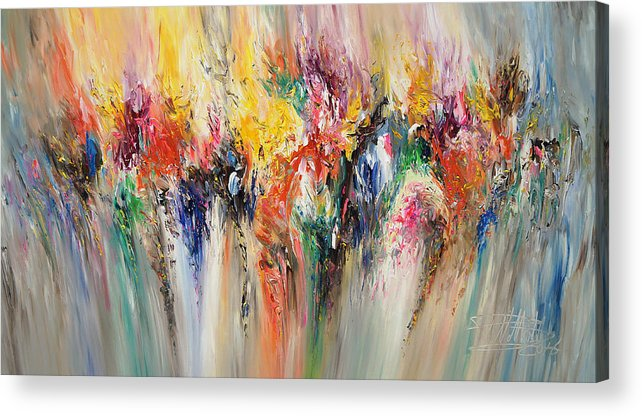 Original Acrylic Print featuring the painting Feeling Good L 1 by Peter Nottrott