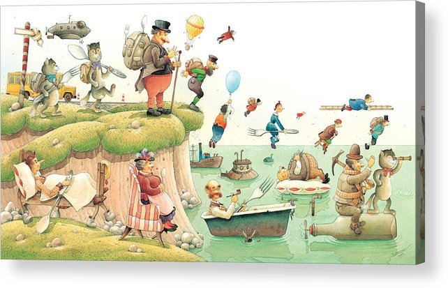 Food Travel See Landscape Journey Acrylic Print featuring the painting Lazinessland02 by Kestutis Kasparavicius