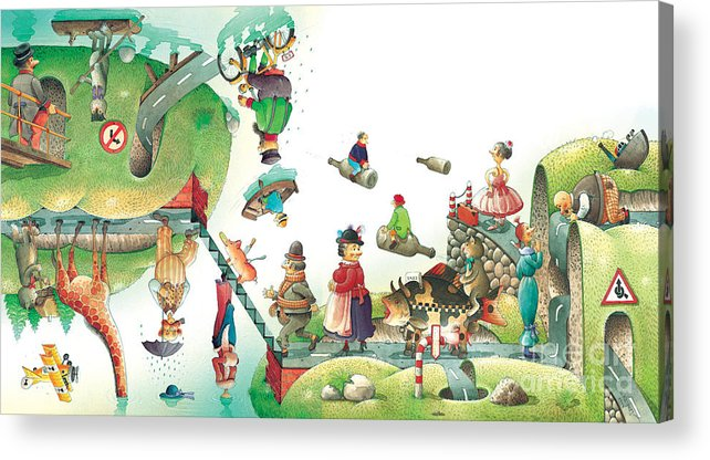 Travel Lanscape Green Acrylic Print featuring the painting Lazinessland06 by Kestutis Kasparavicius
