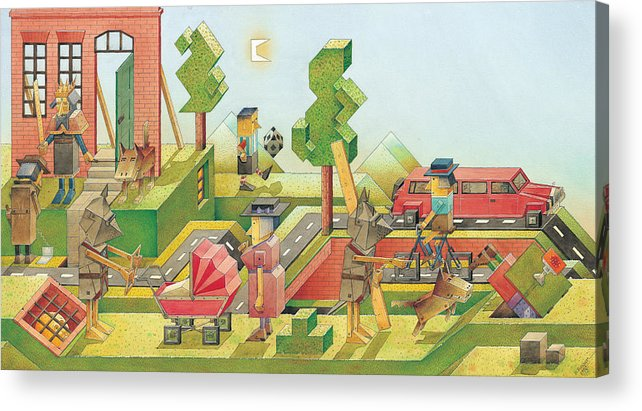 Red Green Figure Landscape Acrylic Print featuring the painting Lisas Journey08 by Kestutis Kasparavicius
