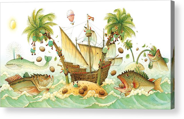 Eggs Easter Marine Acrylic Print featuring the painting Marine Eggs by Kestutis Kasparavicius