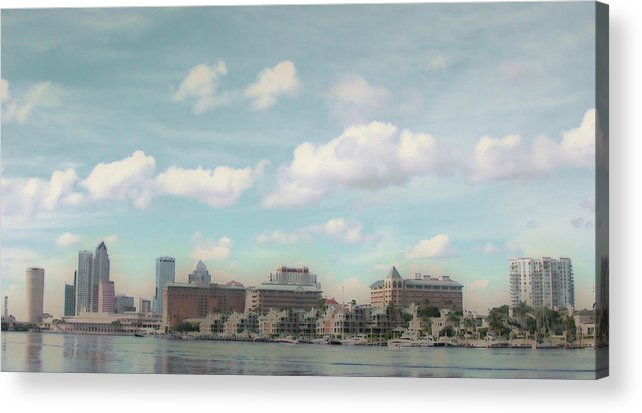 Tampa Acrylic Print featuring the photograph Postcard Look Of Tampa Skyline by Rebecca Sauceda