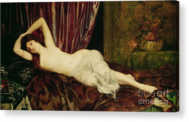 Reclining Acrylic Print featuring the painting Reclining Nude by Henri Fantin Latour