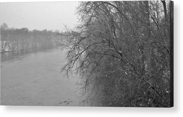 Winter Acrylic Print featuring the photograph Snowy River    Landscape     Indiana by Rory Cubel
