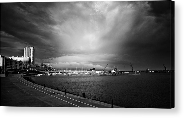 Ponta Delgada Acrylic Print featuring the photograph Storm In The City by Nelson Mineiro