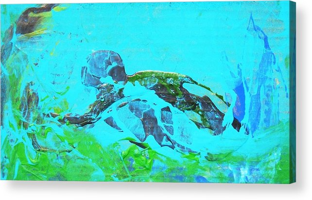 Swimmer Underwater Acrylic Print featuring the painting The Swimmer by Bruce Combs - REACH BEYOND