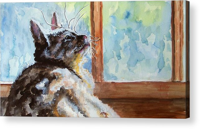 Cat Acrylic Print featuring the painting Watching The Rain by Jim Phillips