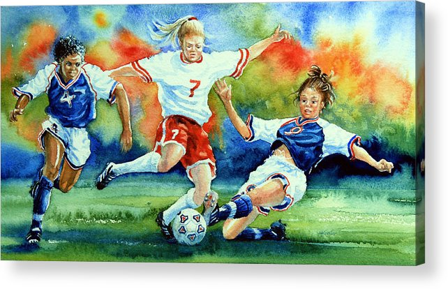 Sports Art Acrylic Print featuring the painting Women by Hanne Lore Koehler