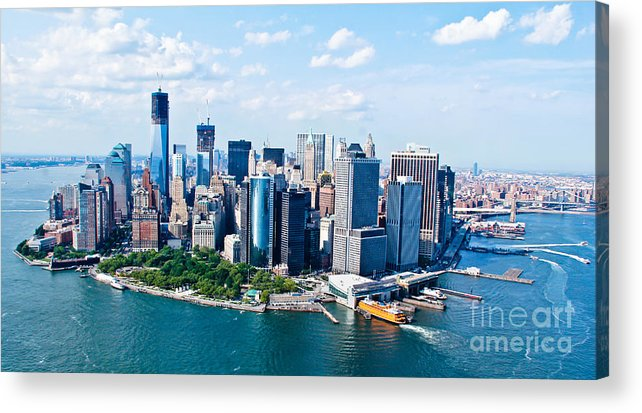 Blue Sky Acrylic Print featuring the photograph New York City Sky View by Rene Pi