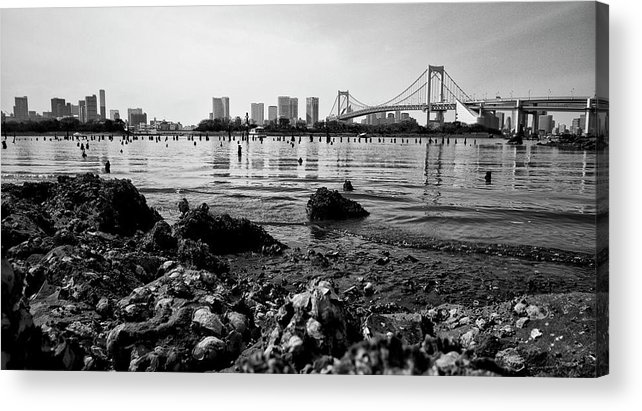Suspension Bridge Acrylic Print featuring the photograph Waterfront by Www.kokeshidesign.com