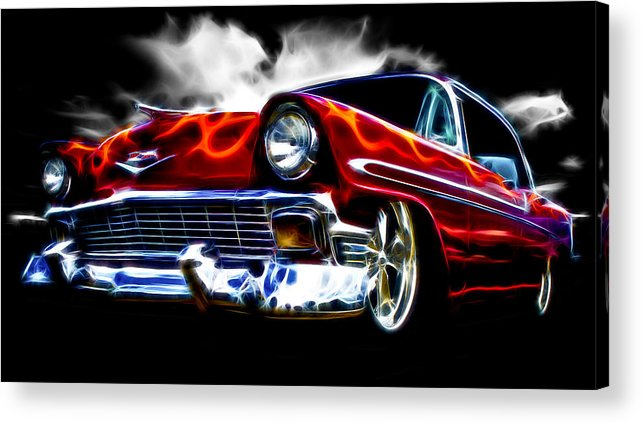 Red Street Rod Acrylic Print featuring the photograph 1956 Flamin Chevrolet by Phil 'motography' Clark