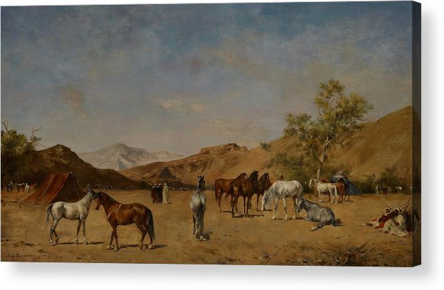 Arabian; Arabia; Middle East; Middle Eastern; Landscape; Desert; Horses; Horse; Mountains; Mountainous; Arid; Wilderness; Camp; Encampment; Travel; Travellers; Tent; Tents; Journey Acrylic Print featuring the painting An Arabian Camp by Eugene Fromentin