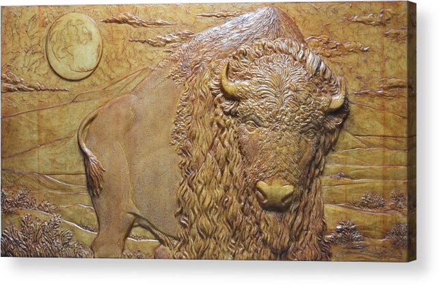 Bufffalo Acrylic Print featuring the sculpture Badlands Bull by Jeremiah Welsh