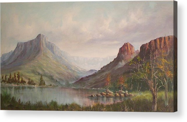 Mountains Acrylic Print featuring the painting By The Riverside by Rita Palm