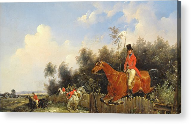 Scene De Chasse; Hunter; Hunters; Huntsman; Hunt; Riding; Horse; Rider; Outfit; Jumping; Fence; Landscape Acrylic Print featuring the painting Hunting Scene by Bernard Edouard Swebach
