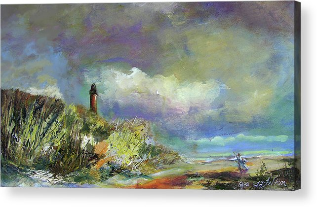 Art Acrylic Print featuring the painting Lighthouse And Fisherman by Julianne Felton