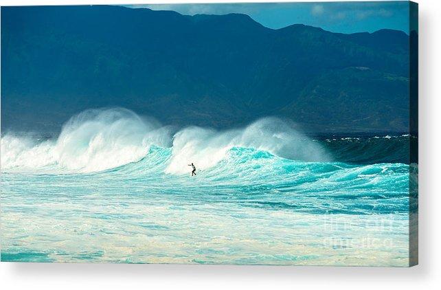Hookipa Beach Acrylic Print featuring the photograph Lone Surfer by Jamie Pham