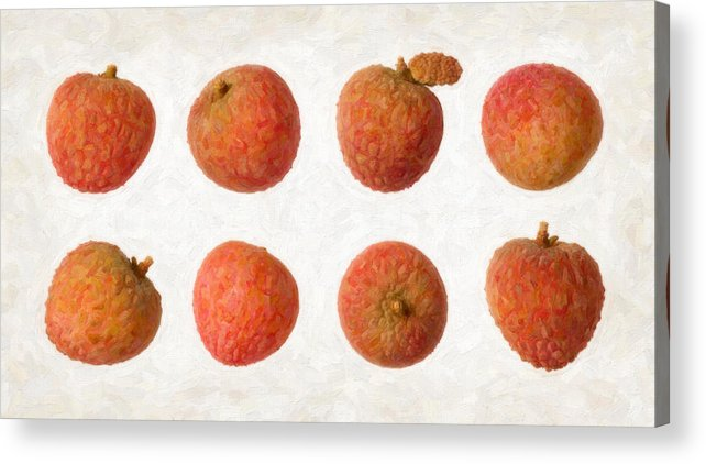 Red Acrylic Print featuring the painting Lychee by Danny Smythe