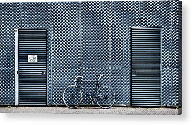 Bike Acrylic Print featuring the photograph No Bikes Please by Linda Wride