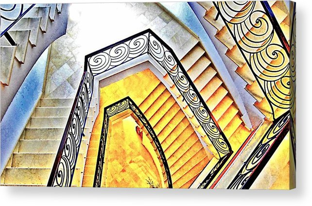 Hotel Acrylic Print featuring the digital art Staircase Abstract by John Lynch