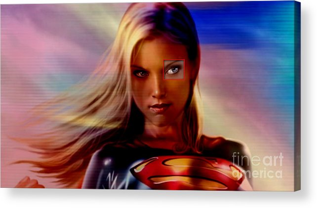 Supergirl Paintings Mixed Media Mixed Media Acrylic Print featuring the mixed media Supergirl by Marvin Blaine