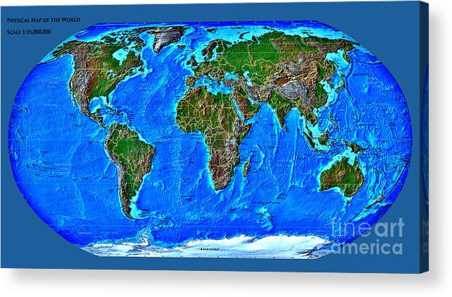 Physical Acrylic Print featuring the digital art Physical Map Of The World by Theodora Brown