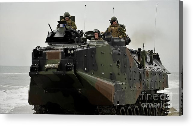 Exercise Bold Alligator Acrylic Print featuring the photograph Amphibious Assault Vehicles Make by Stocktrek Images