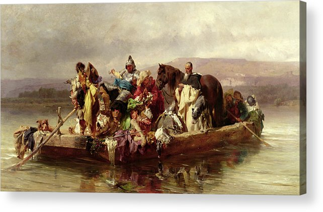 The Acrylic Print featuring the painting The Ferry by Johann Till