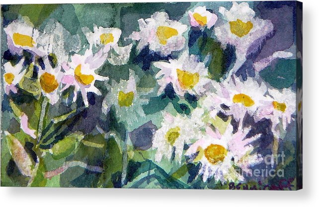 Flowers Acrylic Print featuring the painting Little Asters by Jan Bennicoff