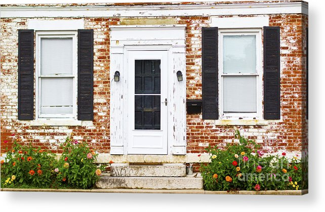 Door Acrylic Print featuring the photograph Antique Front Door Windows And  Flower Bed by ELITE IMAGE - Antique Front Door Windows And Flower Bed Acrylic Print By ELITE