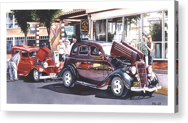 1935 Ford 1932 Car Automobile Jocks Show Cruise In Maroon Red Street Rod Hot Duece Acrylic Print featuring the painting Bodies And Souls by Mike Hill