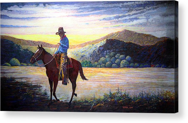 Western Art Cowboys Acrylic Print featuring the painting By The Dawns Early Light by Donn Kay