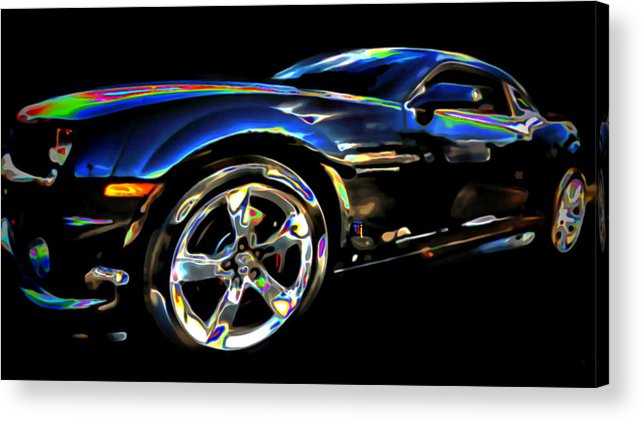 Tires; Bumpers; Grills; Lights; Doors; Blue; White; Gray; Black; Windows; Wheels; Transportations; Automobiles; Autos; Rims; Green; Red Acrylic Print featuring the digital art Camaro by Fli Art