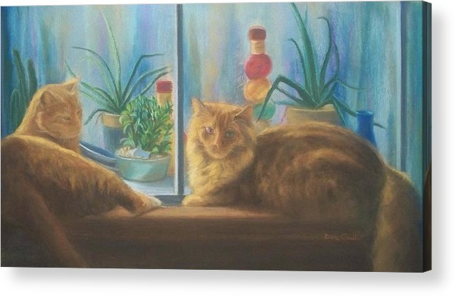 Cats Acrylic Print featuring the painting Cats In The Window by Diane Caudle