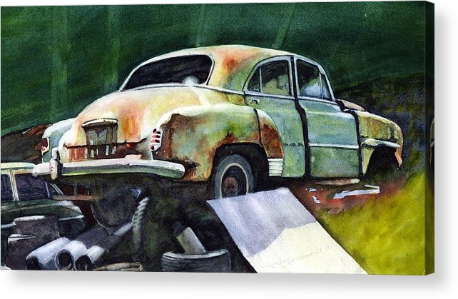 Chev Acrylic Print featuring the painting Chev At Rest by Ron Morrison