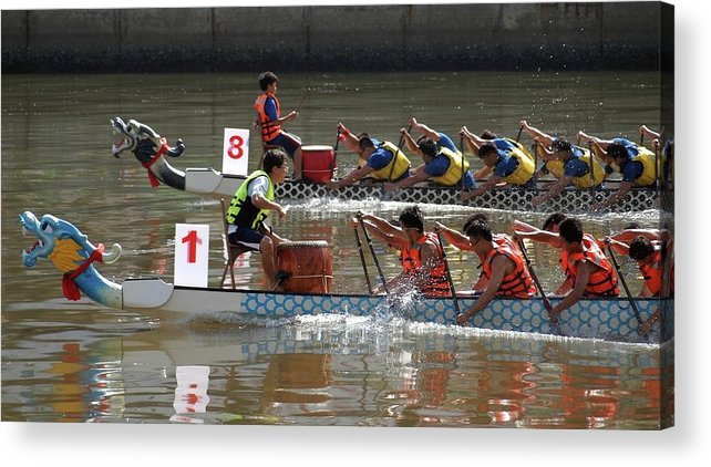 Boat Acrylic Print featuring the photograph Dragon Boat Races On The Love River In Taiwan by Yali Shi