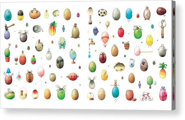 Eggs Easter Acrylic Print featuring the painting Eastereggs by Kestutis Kasparavicius
