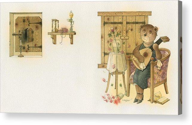Bears Melancholy Magic Glamour Brown Love Music Acrylic Print featuring the painting Florentius The Gardener19 by Kestutis Kasparavicius