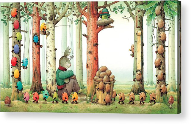 Eggs Easter Forest Acrylic Print featuring the painting Forest Eggs by Kestutis Kasparavicius