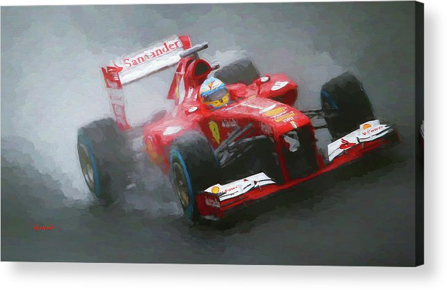 Formula One Racing Acrylic Print featuring the mixed media Formula One Burning The Track by Garland Johnson