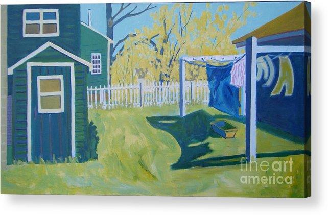 Backyard Acrylic Print featuring the painting Line Of Wash by Debra Bretton Robinson